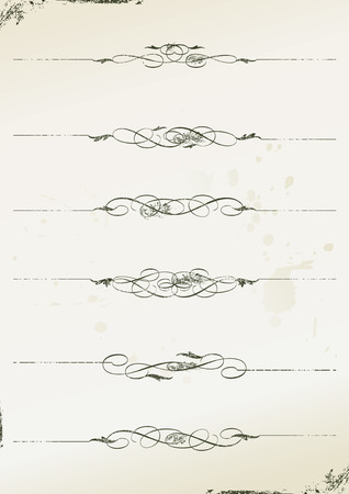 scroll up: curly grunge page rules - illustration Illustration