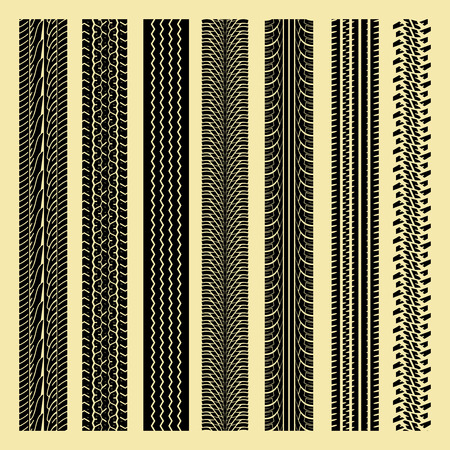 treads: repeating vector tire track collection Illustration