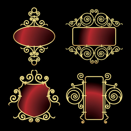 golden wrought iron frames Stock Vector - 6732295