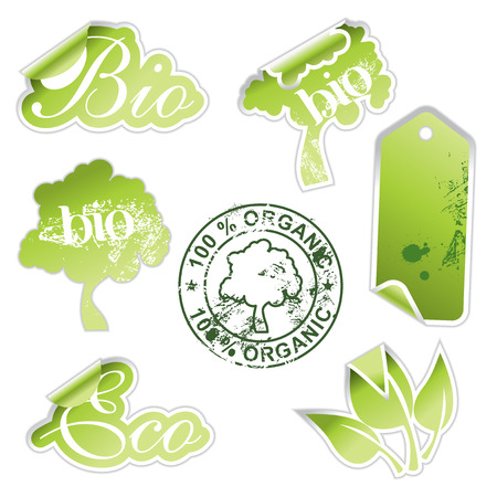green eco stickers Stock Vector - 6732299