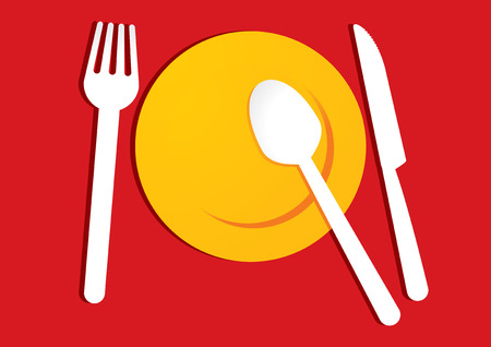 formal place setting: yellow plate on red background Illustration