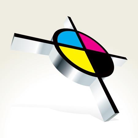 primary color: 3D CMYK target illustration