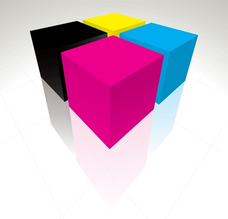 3D CMYK cubes  illustration Stock Vector - 7668823