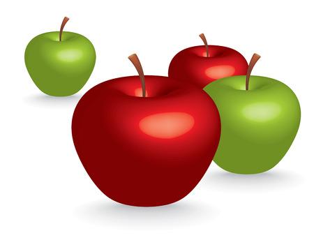 verdes y rojas manzanas 3D - ilustración vectorial