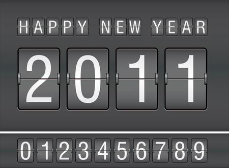 scorebord: bewerkbare 2011 Nieuwjaar op mechanische score bord Stock Illustratie