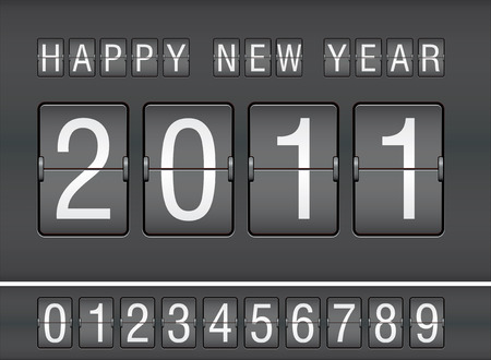 scoreboard: editable 2011 new year on mechanical scoreboard Illustration