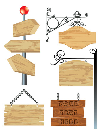 wooden signboard: blank wooden signboard collection Illustration