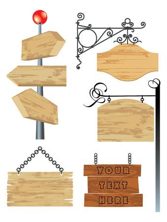 wooden post: colecci�n de se�al de madera en blanco
