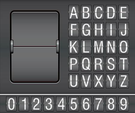 Zeichen und Zahlen auf mechanische Anzeigetafel Vektorgrafik