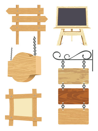 blank wooden signboard collection -  illustration