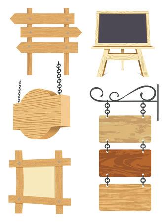 pannello legno: insieme vuoto cartello in legno - illustrazione  Vettoriali