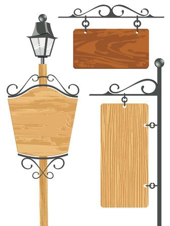 wooden post: colecci�n de se�al de madera en blanco - ilustraci�n