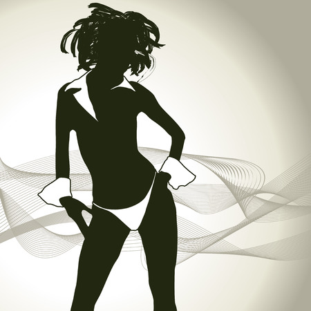 skirts: sexy woman silhouette Illustration
