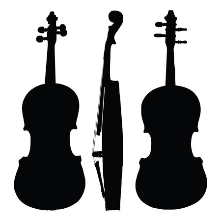 old violin silhouette sides Stock Vector - 9188701