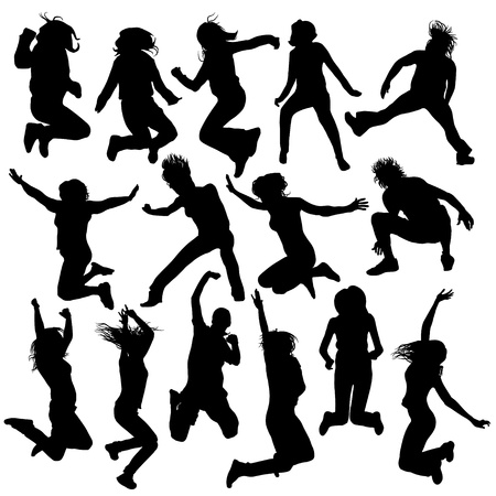 vector jumping and flying people silhouettes 2 Vector