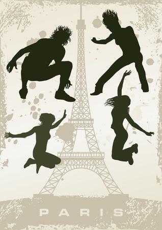 grunge Paris postcard Stock Vector - 10308128