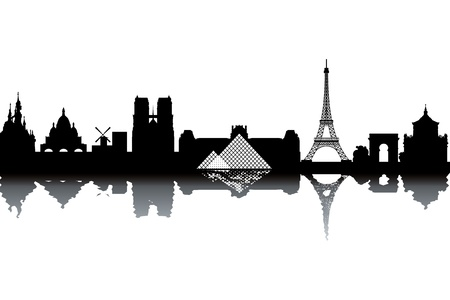 horizon reflection: Paris skyline Illustration