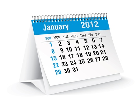 january 2012 desk calendar Stock Vector - 11126336
