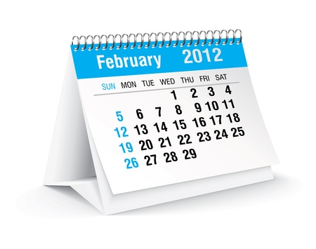 february 2012 desk calendar Stock Vector - 11126327