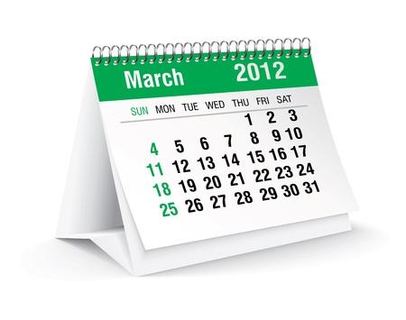 memory board: 03 2012 calendario de escritorio Vectores