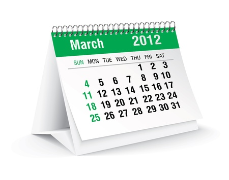 march 2012 desk calendar Stock Vector - 11126333