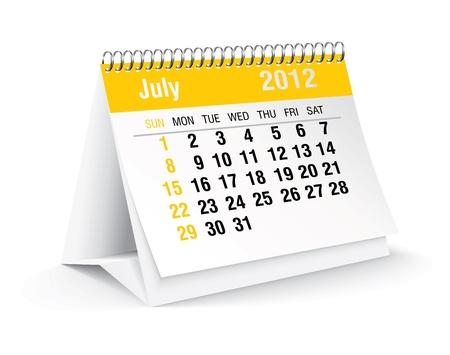 calendario da tavolo: Luglio 2012 scrivania calendario Vettoriali