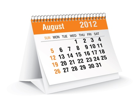 august 2012 desk calendar 向量圖像