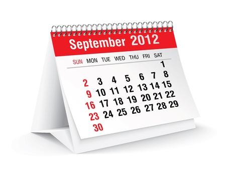 september 2012 desk calendar Stock Vector - 11126332