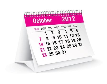calendario da tavolo: Ottobre 2012 scrivania calendario Vettoriali