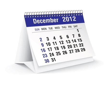 december 2012 desk calendar Stock Vector - 11126321