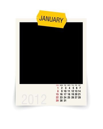 2012 january calendar with blank photo frame Vector