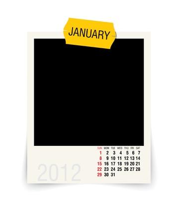 2012 january calendar with blank photo frame Vector