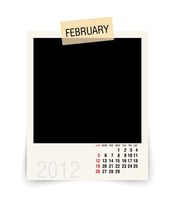 2012 february calendar with blank photo frame Vector