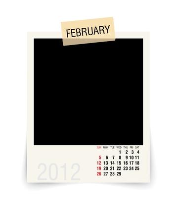 2012 february calendar with blank photo frame Stock Vector - 11126322