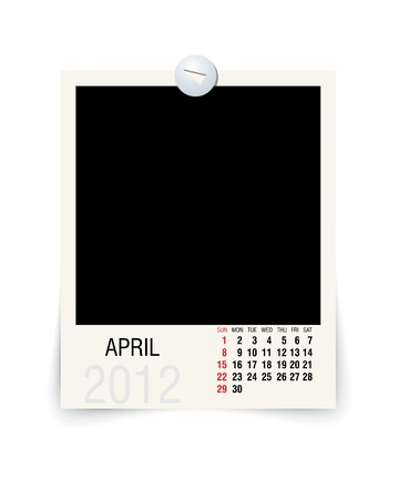 2012 april calendar with blank photo frame Vector