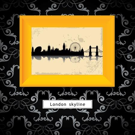 grunge London skyline in yellow photo frame Vector