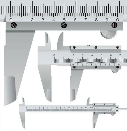 pied   � coulisse: �trier carr�, objet de mesure r�aliste - illustration vectorielle Illustration