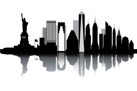 nyc: New York skyline - black and white vector illustration Illustration