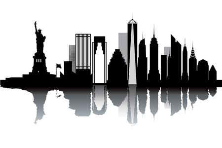 new day: Skyline di New York - illustrazione vettoriale in bianco e nero Vettoriali