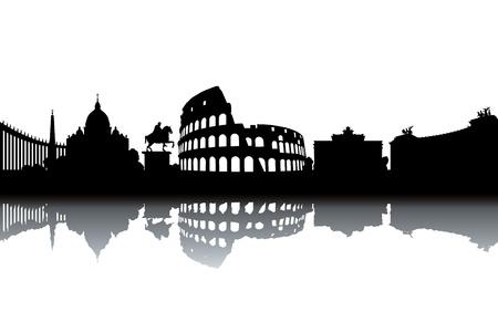 rome italie: Rome horizon - illustration vectorielle en noir et blanc Illustration
