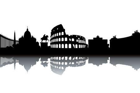Rome skyline - black and white vector illustration
