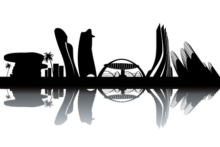 Abu Dhabi skyline - black and white vector illustration Vector