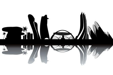 Abu Dhabi skyline - black and white vector illustration