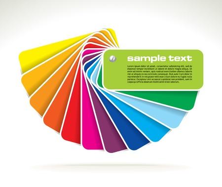 Farbfächer mit Beispieltext-Vektor-Illustration