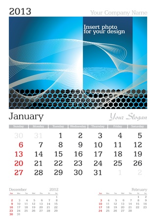 January 2013 A3 calendar - vector illustration Stock Vector - 15310464