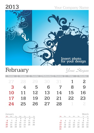 thursday: February 2013 A3 calendar - vector illustration Illustration
