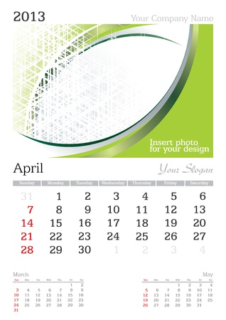April 2013 A3 calendar - vector illustration Stock Vector - 15310443