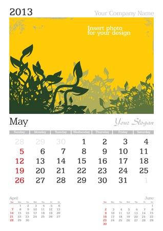 a3: May 2013 A3 calendar - vector illustration