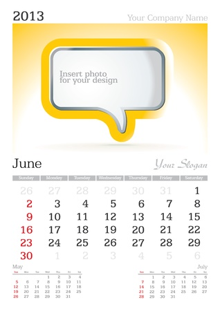 June 2013 A3 calendar - vector illustration Vector