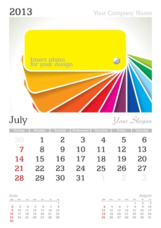 July 2013 A3 calendar - vector illustration Stock Vector - 15310450